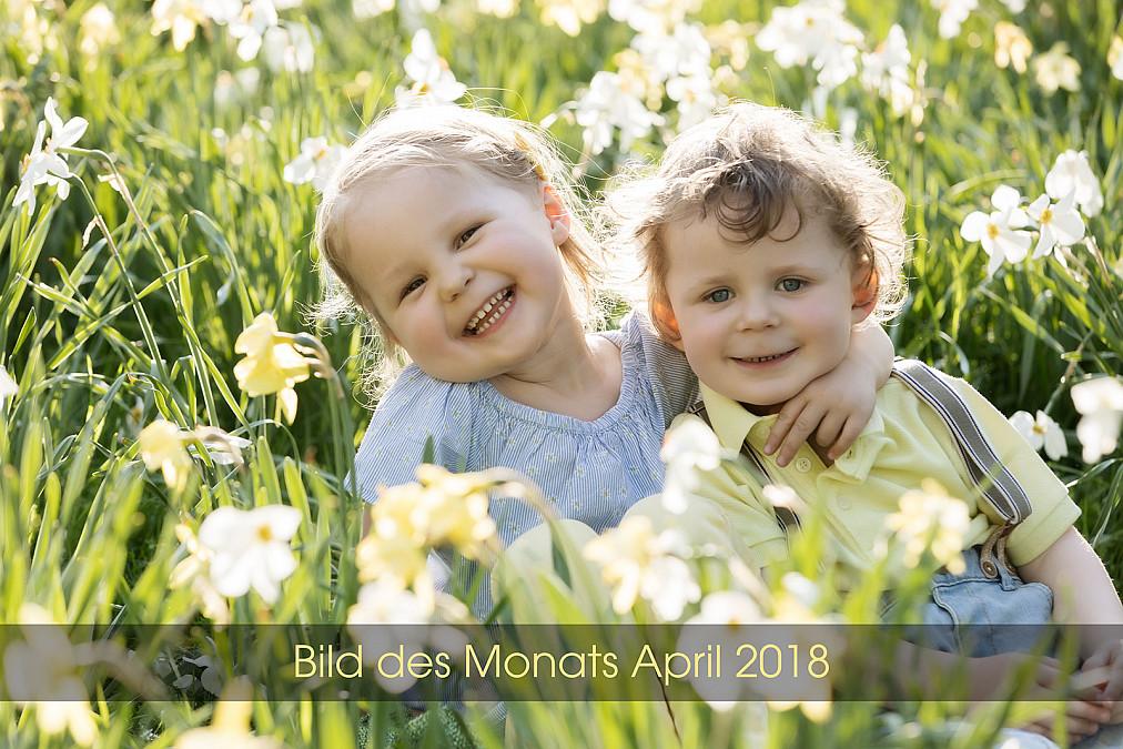 süße Zwillingsfotos im Blumenmeer